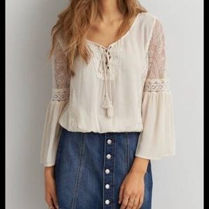 Boho AE top with lace detail and bell sleeves